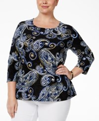 Jm Collection Plus Size Paisley Print Jacquard Top Paisley Florish