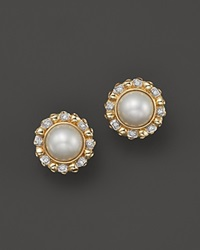 Bloomingdale's Cultured Mabe Pearl Stud Earrings With Diamonds In 14K Yellow Gold 11Mm Gold White