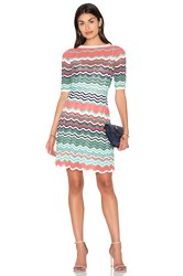 M Missoni Fit And Flare Zig Zag Mini Dress Green