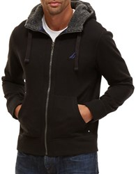 Nautica Big And Tall Sherpa Lined Zip Front Hoodie True Black