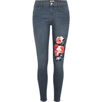 River Island Womens Blue Floral Print Amelie Super Skinny Jeans