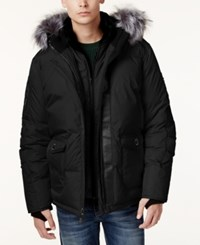 Point Zero Faux Fur Trim Layered Ripstop Coat Black