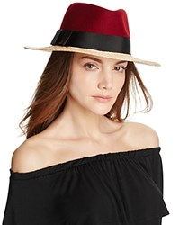 Kate Spade New York Wool And Raffia Fedora Chestnut Red