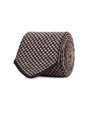 Lardini Geometric Knit Wool Tie Grey