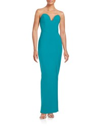 Nicole Miller Strapless Sweetheart Gown Teal