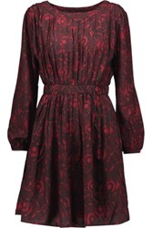 W118 By Walter Baker Kristen Pleated Printed Crepe Mini Dress Burgundy