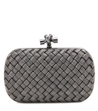Bottega Veneta Knot Box Clutch Silver