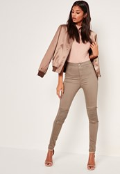 Missguided Khaki High Waisted Zip Knee Biker Skinny Jeans