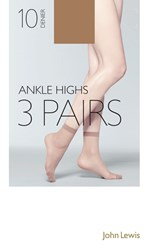 John Lewis 10 Denier Ankle High Socks Pack Of 3 Nude