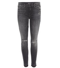 Mother Undone Hem Looker Ankle Distressed Jeans Grey