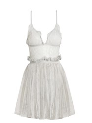Alexander Mcqueen Sleeveless Plunging Lace Mini Dress Grey