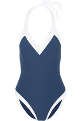 Heidi Klein Cape Cod Stretch Cloque Halterneck Swimsuit Blue