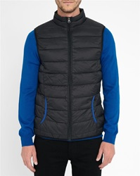 M.Studio Black Armand Ultralight Down Jacket With Royal Blue Details