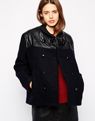 Ymc Double Breatsed Coat With Contrast Leather Yoke Navy