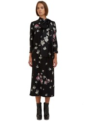 Marc Jacobs Long Sleeved Floral Printed Pussybow Dress Black