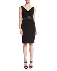 Mignon Embellished Cowl Neck Dress Black Gold