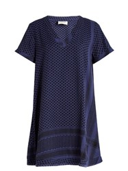 Cecilie Copenhagen Dress 1 V Scarf Jacquard V Neck Dress Blue