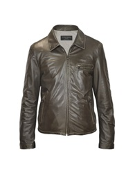 Forzieri Men's Dark Brown Genuine Leather Motorcycle Jacket