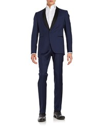 Hugo Satin Trimmed Wool Tuxedo Blue