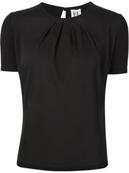 Carolina Herrera Pleated Detail T Shirt Black