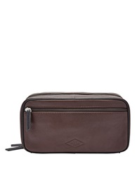 Fossil Leather Double Zip Dopp Kit Brown