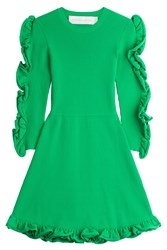 Victoria Victoria Beckham Dress With Ruffled Sleeves Green