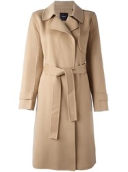 Theory Belted Coat Nude And Neutrals