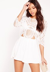 Missguided Crochet Lace Cut Out Playsuit White White