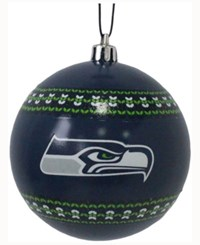 Memory Company Seattle Seahawks Ugly Sweater Ball Ornament Navy