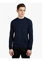 Kenzo Men's Blue Oui Non Knitted Sweater