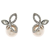 Finesse Crystal And Pearl Leaf Stud Earrings 10Mm Pink