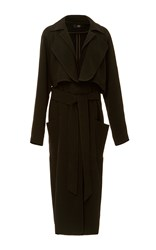 Tibi Long Layered Soft Trench Black