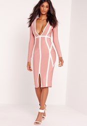 Missguided Plunge Bandage Midi Dress Pink Red
