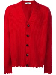 Msgm Distressed Button Cardigan Red