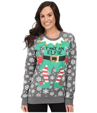 Pj Salvage Take An Elfie Holiday Sweatshirt Heather Grey Women's Pajama Gray