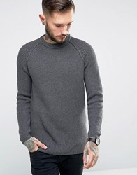 Only And Sons Ribbed Fishermans Knitted Jumper Charcoal Grey