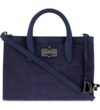 Diane Von Furstenberg 440 Gallery Mini Viviana Crocodile Embossed Leather Tote Dark Night
