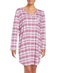 Karen Neuburger Plaid Cotton Blend Sleepshirt Red