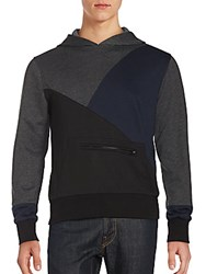 Saks Fifth Avenue Red Hooded Colorblock Sweater Dark Grey