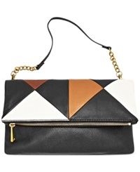 Fossil Erin Leather Multi Patch Foldover Clutch Black Multi