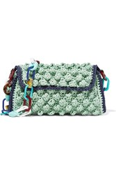 M Missoni Textured Raffia Shoulder Bag Green