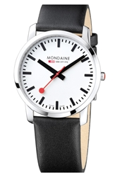 Mondaine 'Simply Elegant' Leather Strap Watch 41Mm Black Silver