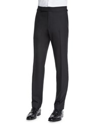 Tom Ford O'connor Base Flat Front Sharkskin Trousers Black