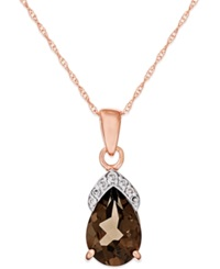 Macy's Smokey Quartz 1 7 8 Ct. T.W. Diamond Accent Pendant In 14K Rose Gold Brown