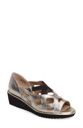 J. Renee Women's Valent Cut Out Wedge Sandal Taupe Gold Leather