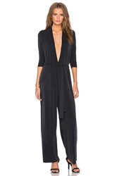 Ganni 3 4 Sleeve Deep V Jumpsuit Black