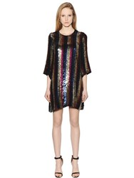 Amen Striped Sequin Chiffon Dress