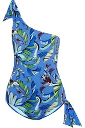 Emilio Pucci One Shoulder Printed Swimsuit Blue