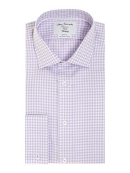T.M.Lewin Men's Tm Lewin Gingham Non Iron Fully Fitted Formal Shirt Lilac