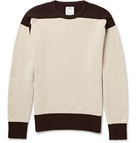 Visvim Isles Two Tone Wool And Cashmere Blend Sweater Cream